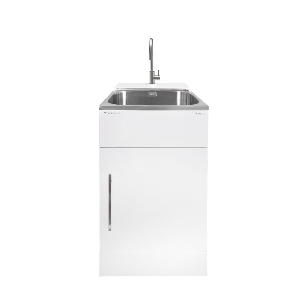Supertub Series III Standard Size 1 Door Console Model White Finish with Stainless Steel Gooseneck Tap ST3703