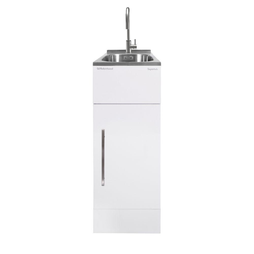 Supertub Series III Slim Size 1 Door White Finish with Stainless Steel Gooseneck Tap STSLIMTAP3