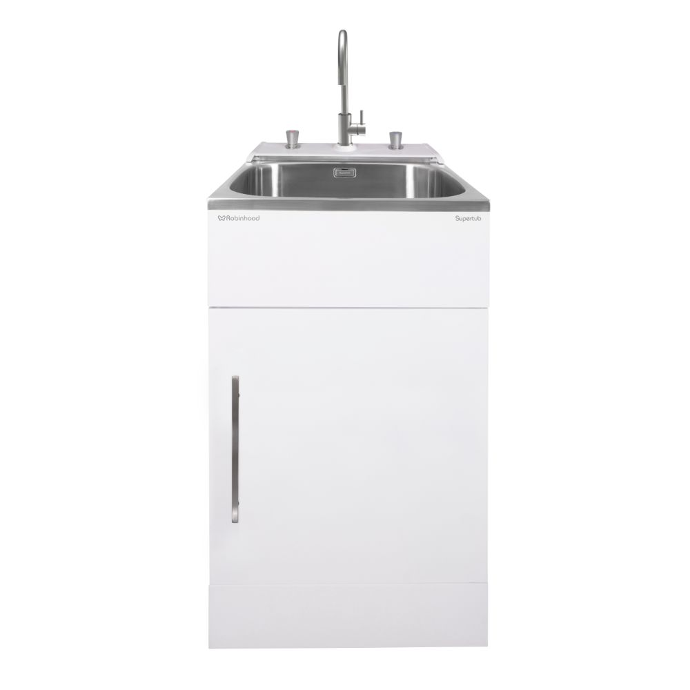SuperTub Series III Standard Size 1 Door Console Model with White Finish and Stainless Steel Gooseneck Tap ST3783