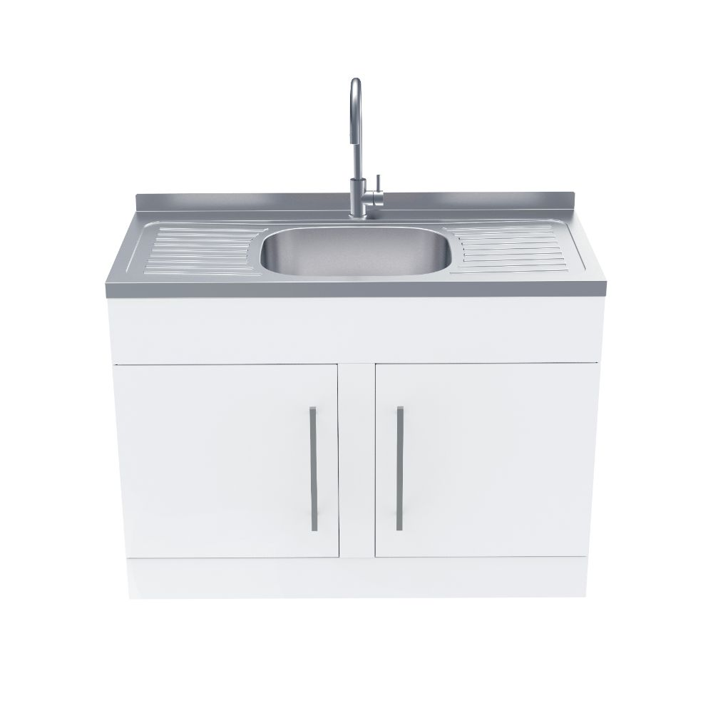 Supertub Series III Wide Body Twin Door White Finish with Stainless steel Gooseneck Tap