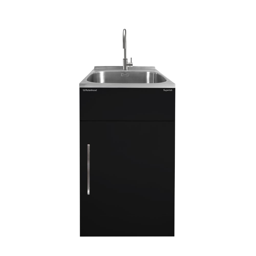 Supertub Series III Standard Size 1 Door Black Finish with Stainless Steel Gooseneck Tap ST3103B