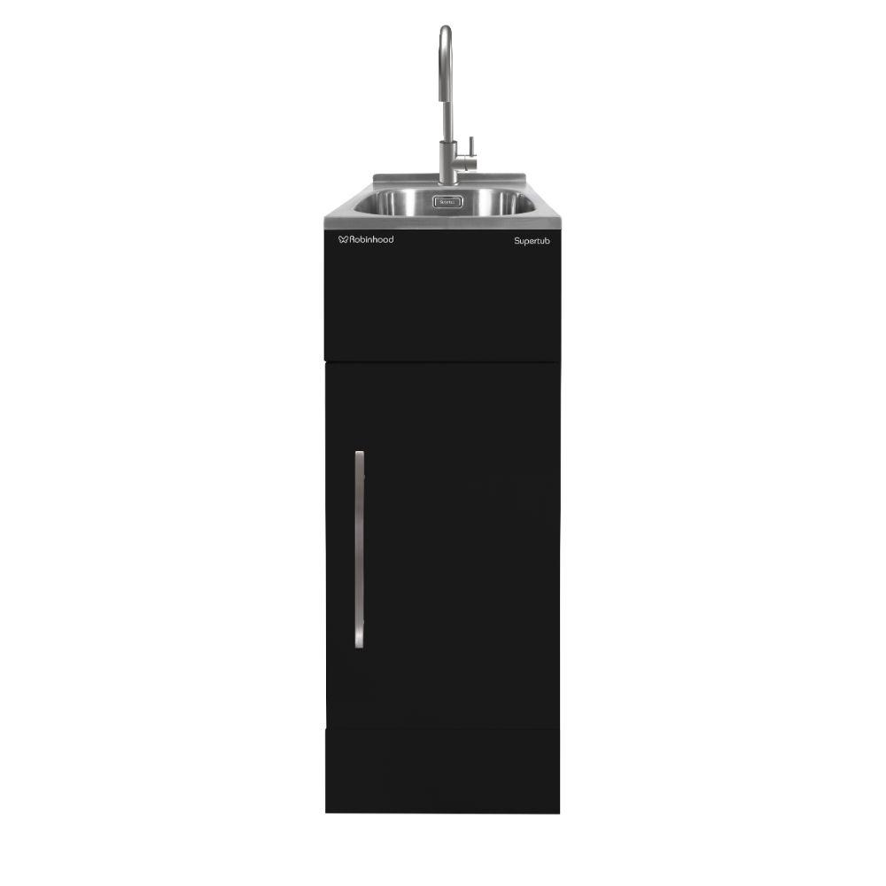 Supertub Series III Slim Size 1 Door Black Finish with Stainless Steel Gooseneck Tap STSLIMTAP3B