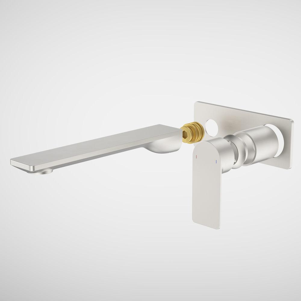 Urbane II 220mm Wall Basin Bath/Bath Trim Kit Rectangular Cover Plate Brushed Nickel 99646BN6A