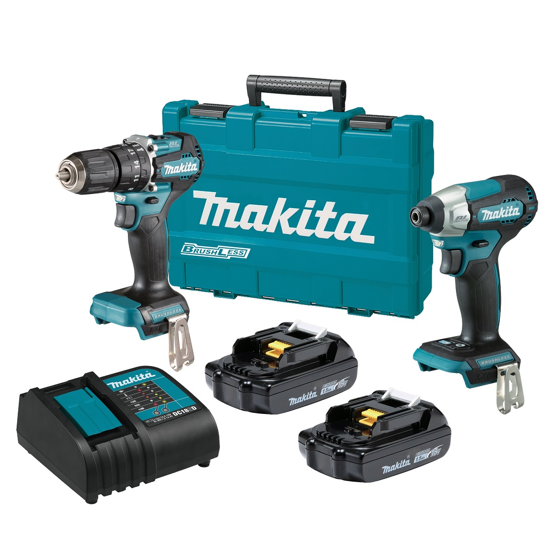Makita 18V LXT Sub-Compact Brushless Hammer Drill Driver/Impact Driver 2 Piece Kit DLX2414SY