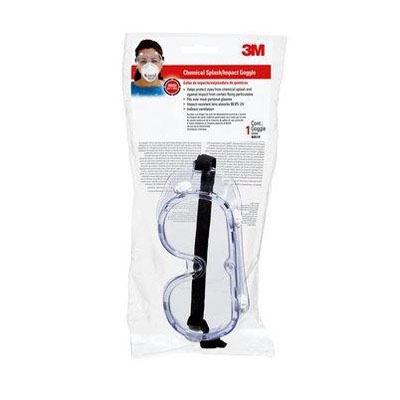 91252 Chemical Splash and Impact Safety Goggles Clear pair