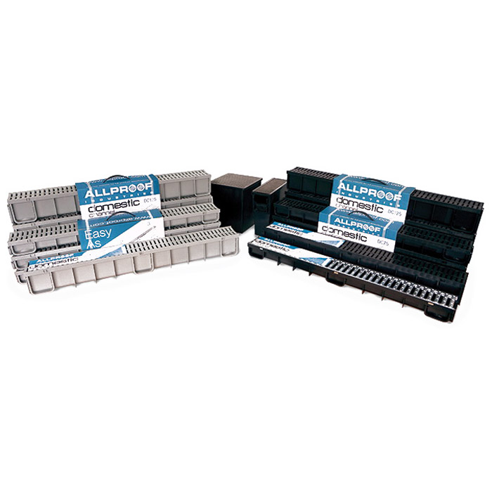 Allproof Drain Channel with Grate 117x 125mmx 1m Plastic Black DC125B1