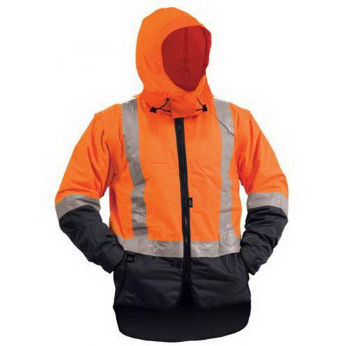 Bison Stamina Zip Off Lined Sleeve Rainwear Jacket XL Navy/Orange