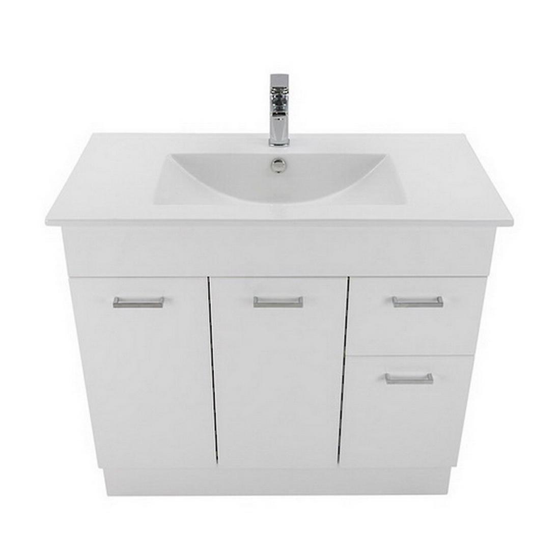 Newtech Montana Qube 2 Drawer Floorstanding Vanity 900 x 820 x 460 mm Gloss White 3475