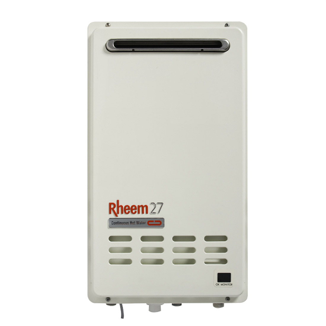 Rheem 874 Series Integrity Continuous Flow Natural Gas Water Heater 27L Outdoor 6 Star 874627NFZ